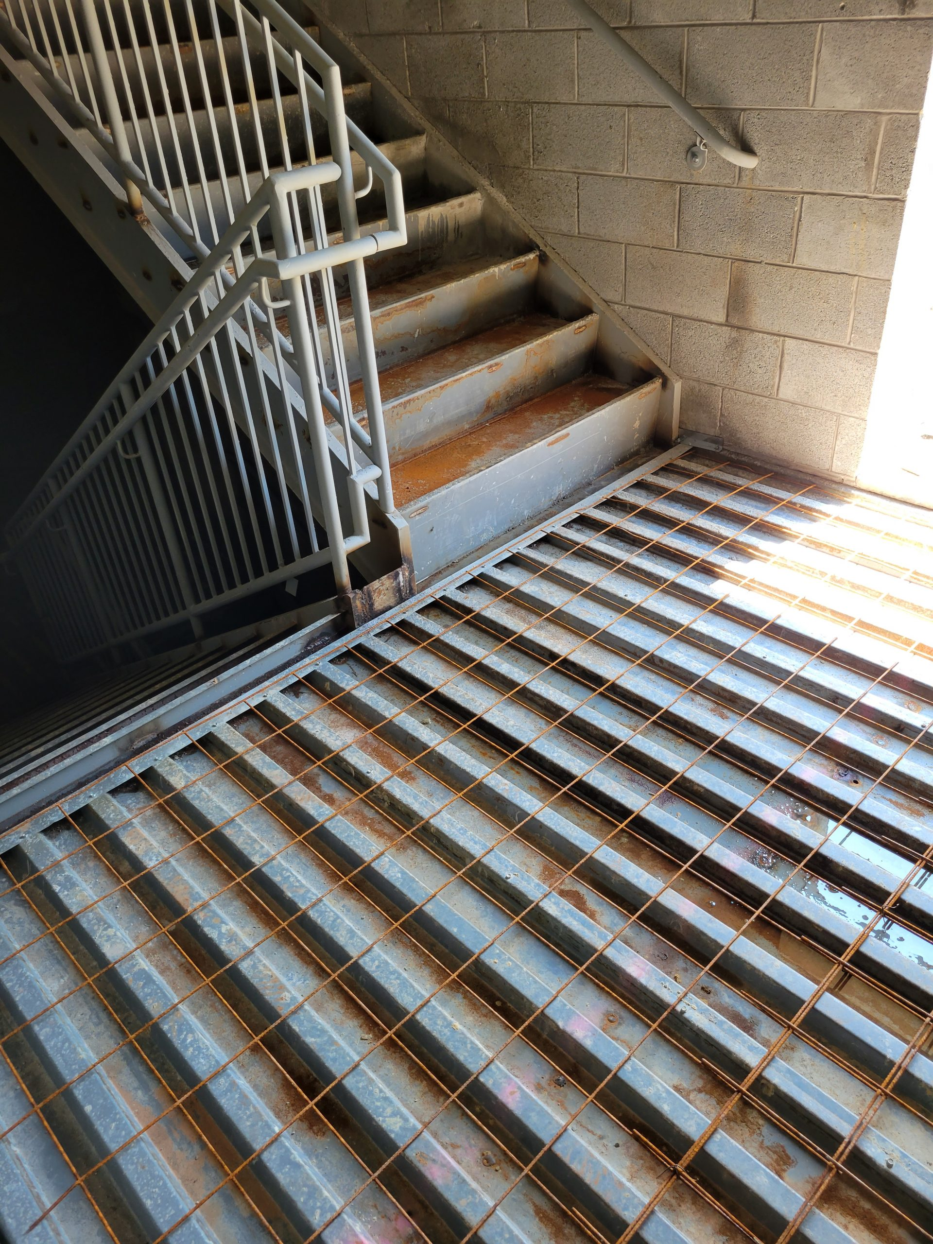 Both staircases installed and Concrete pour in progress
